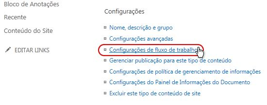Link Configurações de fluxo de trabalho na seção Configurações
