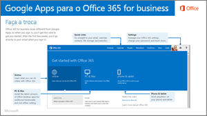 Miniatura de guia para alternar entre aplicativos do Google e o do Office 365