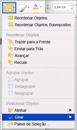 Botão Girar no menu Organizar