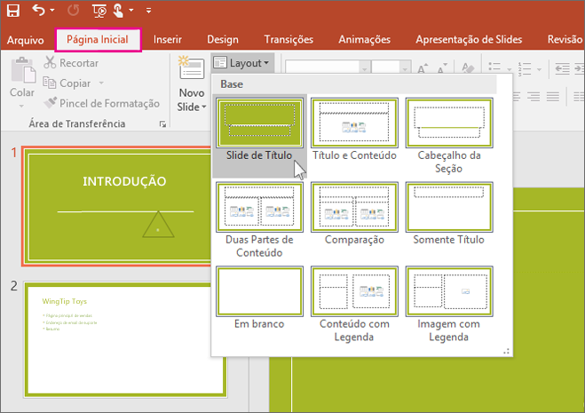 Layouts de slide do PowerPoint
