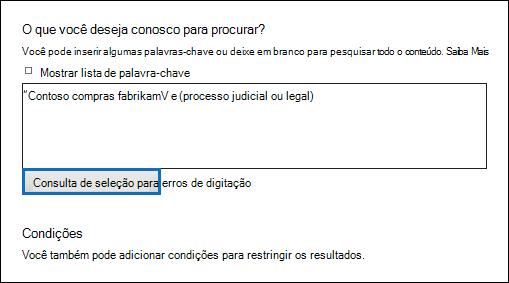 """Clique em """"Check consulta ortografia"""" para verificar sua consulta de pesquisa para caracteres sem suporte"""