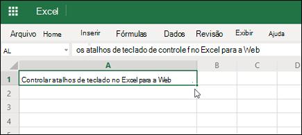 Excel para a Web com hiperlink pastado
