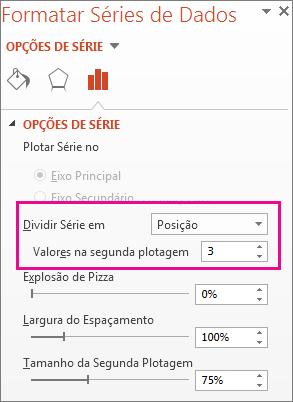 Caixa Dividir Série por no painel Formatar Série de Dados