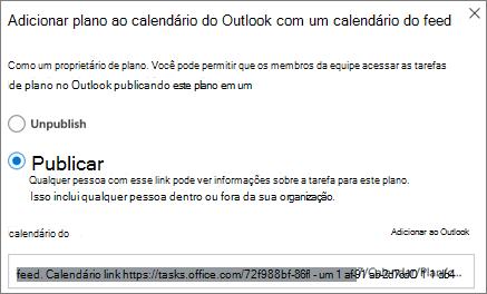 Captura de tela da caixa de diálogo Adicionar plano ao calendário do Outlook