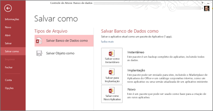 Opções de Salvar Como Banco de Dados na tela Salvar Como