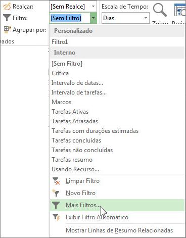 A faixa de opções do Project mostrando como criar um filtro personalizado.