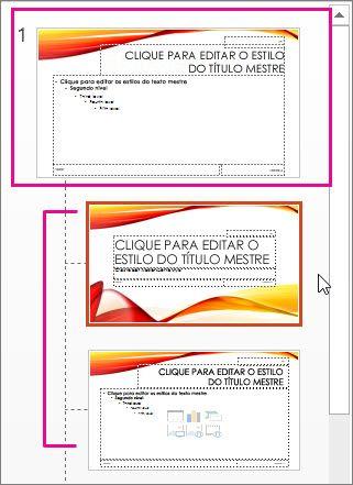 Slide mestre e dois layouts