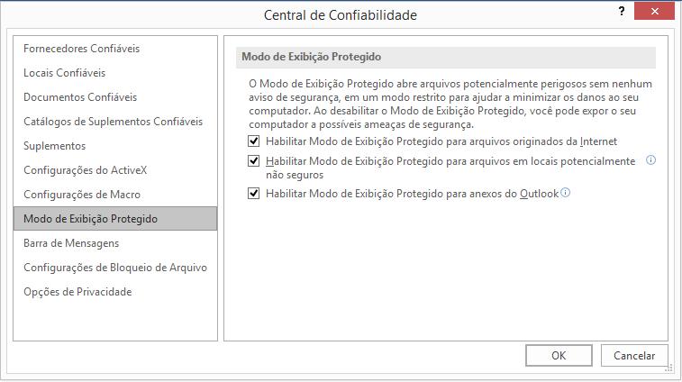 Configurações do Modo de Exibição Protegido da Central de Confiabilidade