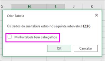 Caixa de diálogo para a conversão de intervalo de dados em uma tabela