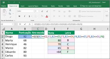 Planilha mostrando como usar a função SES para calcular notas de alunos