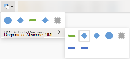 Selecionar o botão Alterar Forma abre uma galeria de opções para substituir a forma selecionada.