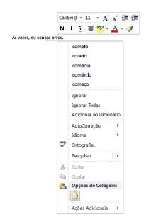 O menu de atalho do botão direito para o verificador ortográfico e gramatical