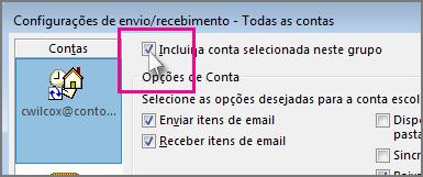 Removendo uma conta de um grupo de envio/recebimento