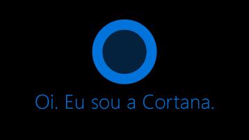 """O ícone da Cortana, como visto na tela com o texto """"Olá. Eu sou Cortana"""" abaixo do ícone."""