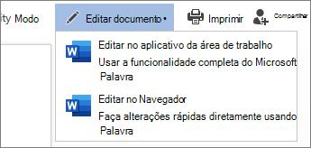 Selecione Editar no navegador para editar no Word online