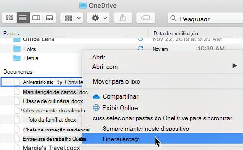 Captura de tela de opções de arquivos sob demanda do OneDrive no Finder em um Mac