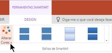 Em ferramentas de SmartArt, selecione alterar cores para abrir a Galeria de cores