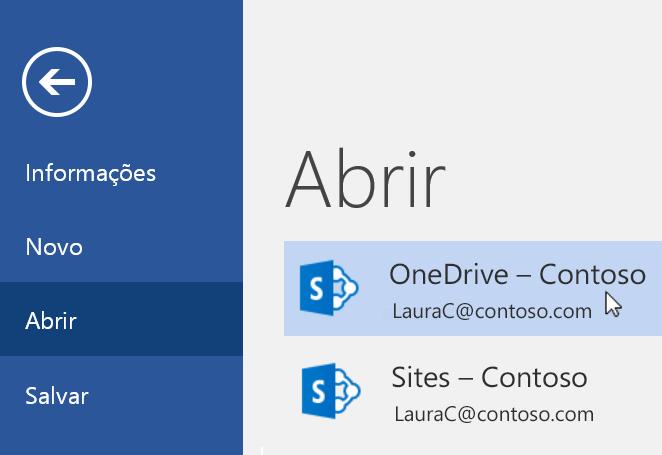 Captura de tela do menu Arquivo > Abrir no Word.