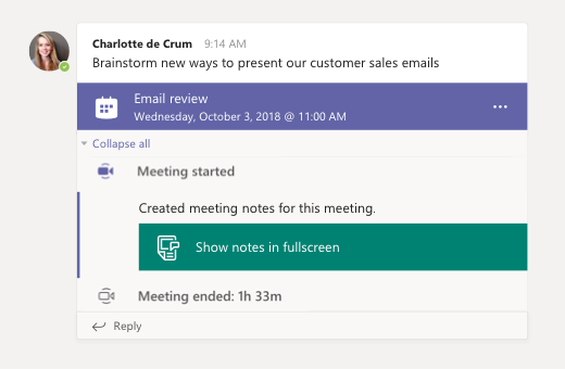 Anotações da reunião em um chat