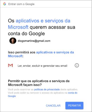 Mostrando a janela de permissões para que o Outlook acesse sua conta do Gmail