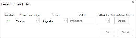 Configurar o filtro para solicitações de recursos de proposta