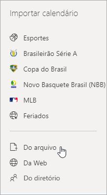 Captura de tela da opção Importar de arquivo