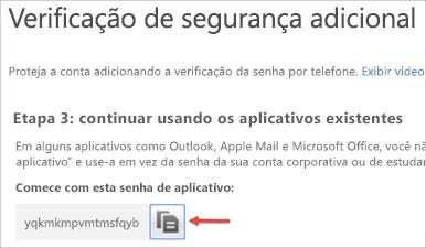 Imagem do ícone Copiar para copiar a senha de aplicativo para a área de transferência.