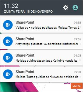 Exemplo de notificação de notícias em dispositivos móveis