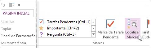 Você pode encontrar marcas utilizando o painel Resumo de Marcas no OneNote.