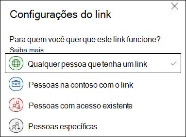 Opção qualquer link do OneDrive nas configurações do link.