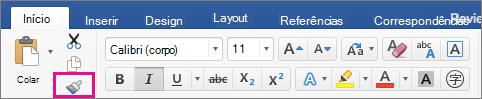 Na guia Página Inicial, a opção Copiar formatação de um local e aplicar em outro está realçada.