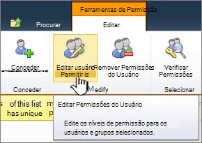 Editar permissões de usuário