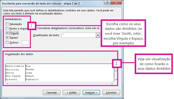 Etapa 2 do Assistente para Conversão de Texto em Colunas