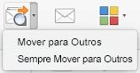 As duas opções no menu Mover para Outros são Mover para Outros e Mover Sempre para Outros