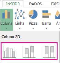 Tipos de gráfico de colunas