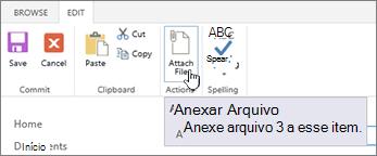 Edite guia faixa de opções com anexar arquivo realçado.