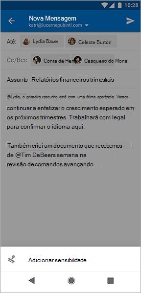 Captura de tela do botão Adicionar sensibilidade no Outlook para Android