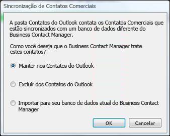 caixa de diálogo de sincronização de contatos