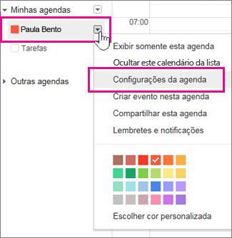 Configurações do Google Calendar