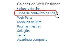 o link tipos de conteúdo de sites em galerias