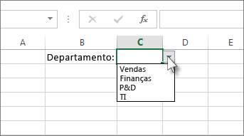 Modelo de lista suspensa no Excel