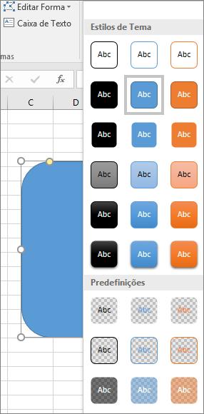 Galeria de estilos de forma mostrando os novos estilos predefinidos no Excel 2016 para Windows