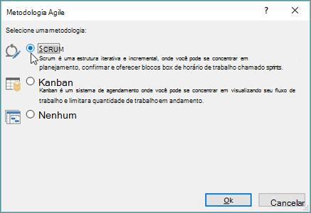 Captura de tela da caixa de diálogo metodologia Agile