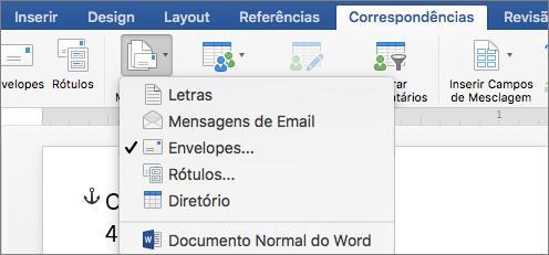 Na guia Correspondências, selecione Envelopes na lista Iniciar Mala Direta.