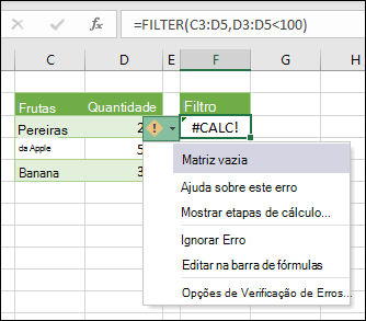 #CALC! Erro - matriz vazia