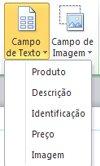 Inserir campos de texto em uma mesclagem de catálogo