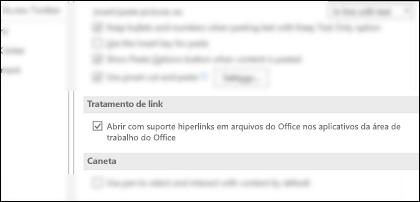 A caixa de diálogo opções > avançado mostrando a configuração para habilitar ou desabilitar links de abertura nos aplicativos da área de trabalho.