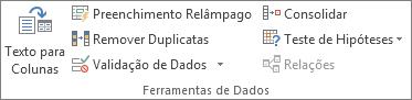 Grupo Ferramentas de Dados na guia Dados
