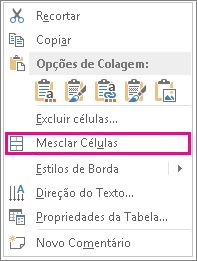 Clique com o botão direito do mouse no menu de atalho para mesclar as células de tabela