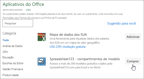 A captura de tela mostra a página de suplementos do Office, onde você pode selecionar ou pesquisar um suplemento do Excel.